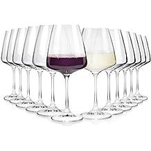 Bohemia Weinglas Set aus Kristallglas 12 teilig | für bis zu 12 Personen | Füllmenge 360 ml & 450 ml | Maße Weißweingläser Ø9,5x20,5 cm | Maße Rotweingläser Ø9x22 cm