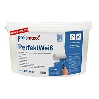 PerfektWeiß, hochwertige Wandfarbe, Deckkraftklasse 1, Innenfarbe, weiß, matt, 10 Liter, Nassabriebklasse 2