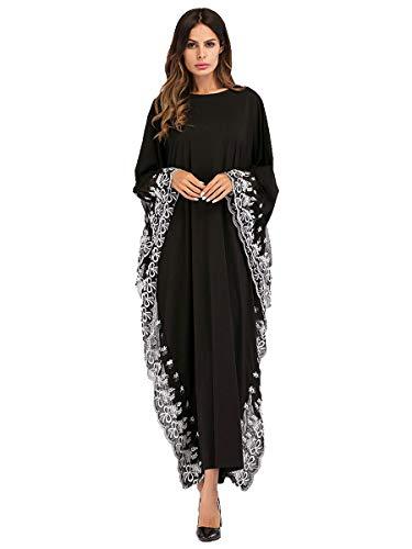 MEYINI Vestido de Mujer Farasha Kaftan - Islámica árabe de Gran tamaño Vestidos Largos Maxi Cuello Redondo Abaya Jilbab