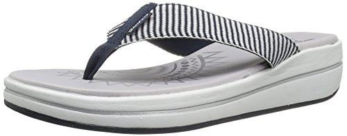 Skechers Womens Sandal 40898 Navy 8 (Stripe Wedge Sandals)