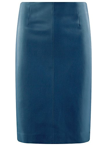 oodji Collection Damen Lederimitat-Bleistiftrock Blau (7901N)