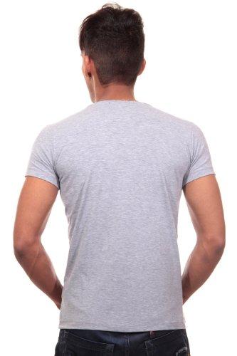 R-NEAL T-Shirt V-Ausschnitt slim fit Grau