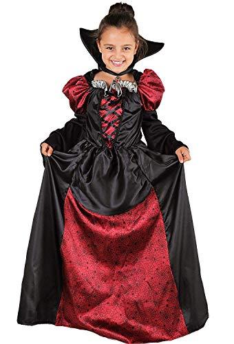 Vampir De Halloween Für Kostüm - Magicoo Lady Vampirin Vampir Kostüm Kinder Mädchen mit Kragen - schickes Halloween Vampirkostüm Kind Gr. 110 bis 140 (146/152)