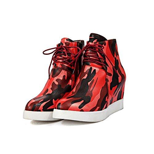 Aisun Damen Tarnung Unsichtbare Erhöhung Plateau Dicke Sohle Schnürsenkel Fashion Sneakers Blau 38 EU MRF4Qfd4m