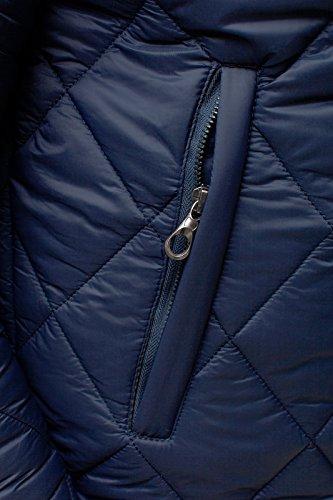 OZONEE Herren Jacke Warme Winterjacke Steppjacke mit Kapuze Parka STEGOL 123 Dunkelblau_STEGOL132