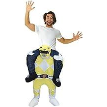 Disfraz piggyback infantil unisex oficial de Power Ranger amarillo. Disfraz para rellenar las piernas