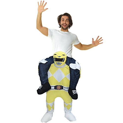 Morph Offizielles Unisex Power Ranger gelb Fancy Kleid Piggyback Kostüm–mit Stuff Ihre eigenen Beinen