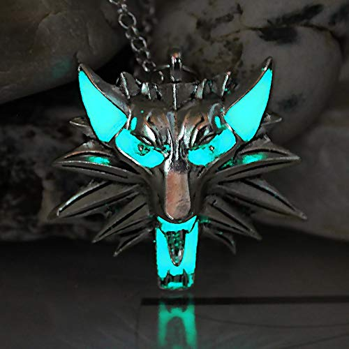 DADATU Halsketten für Herren The Witcher 3 Wild Hunt Wolf Halskette Pendant Game of Thrones Stark Twilight Werwolf Necklace Glow In The Dark Night Luminous (Werwolf Twilight Kostüm)