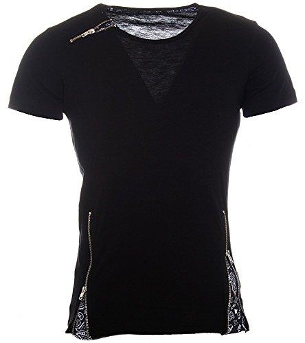 Redbridge Oversize Herren T-Shirt Longshirt mit zippern Slim Fit M1005 Schwarz