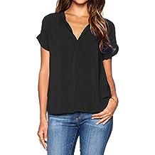LILBETTER Damen Chiffon-Bluse mit V-Ausschnitt Kurzarm-Spitze Hemden