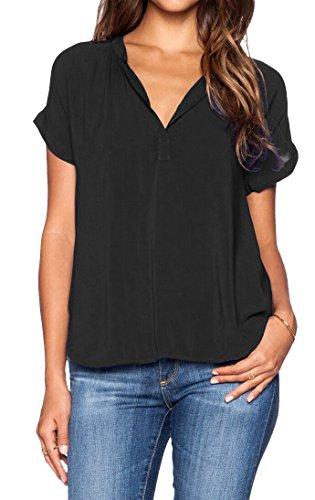 LILBETTER Damen V-Ausschnitt Chiffon kurze Ärmel sleeve Strand T-Shirts Bluse Oberteil Tops(schwarz L)