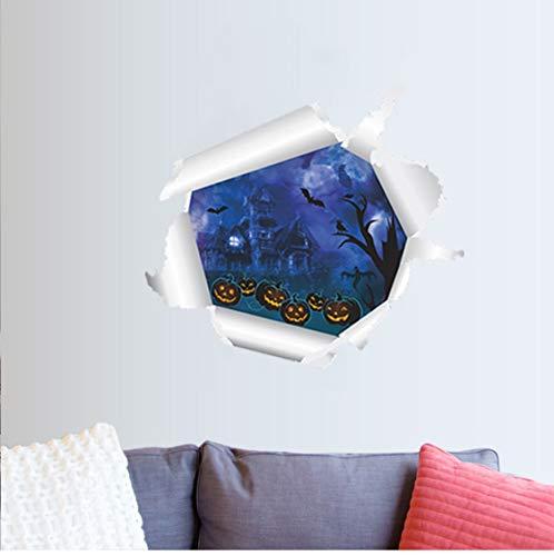 Halloween dekoration 3D Nacht Kürbisschloss wandaufkleber für kinderzimmer fenster wohnkultur wohnzimmer wandbild 50 * 55 cm