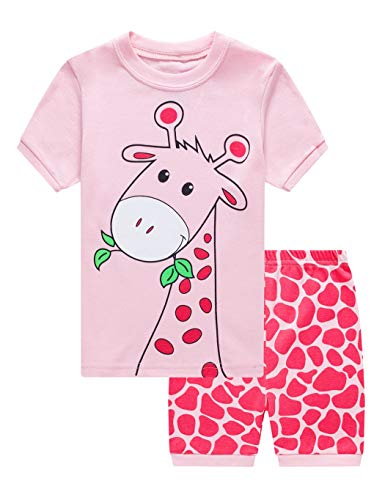 EULLA Mädchen Schlafanzug Kurz Einhorn Kinder Baumwolle Pyjama Schlafanzug Hosen Oberteile, 1-giraffe, 98(Herstellergröße:4T)