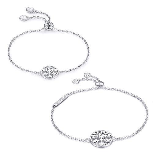 WISHMISS Armband Frauen Mädchen 925 Sterling Silber Damen Schmuck Geschenk für Frauen Mädchen zum Muttertag (Baum Armband gesetzt 2) Technische Leben