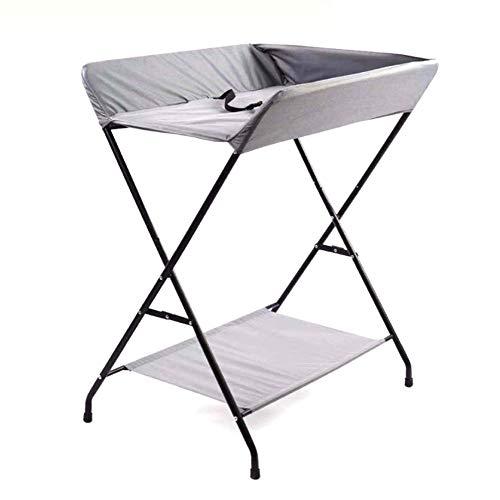 Table à Langer Bébé Gris Se Pliant, Station De Bain Nouveau-né pour Petit Espace, Commode Portable Enfant 0-3 Ans