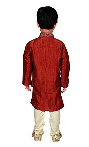 Indien Pakistan Jungen Sherwani Kurta Churidar Kameez in Art Seide für EID & Hochzeit 856 Rot - Maroon