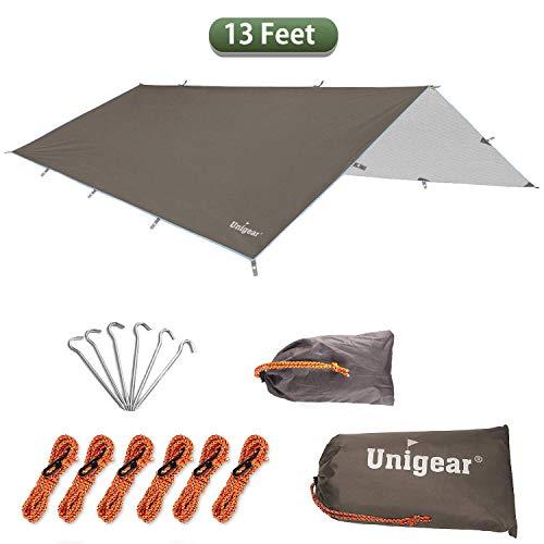Unigear Zeltplane, Tarp für Hängematte, wasserdicht mit Ösen + 6 Erdnägel+ 6 Seilen, Regenschutz Sonnenschutz für Ourdoor Camping MEHRWEG (Kaffee-300 x 400cm)