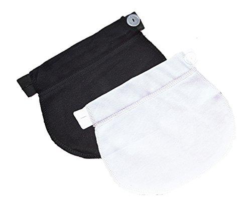 Mija - Set of 2: Maternity Pregnancy waistband ADJUSTABLE elastic waist extender 1029 (Black + white)