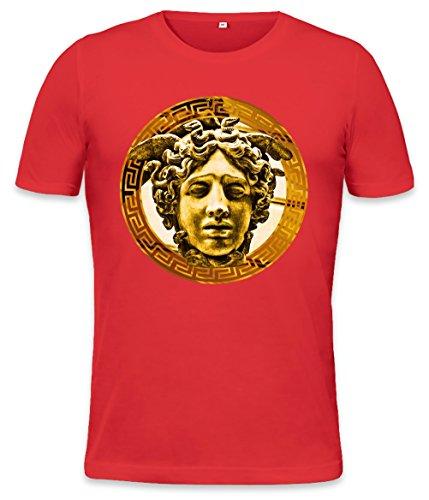 Cocaine And Caviar Medusa Luxury Head Golden Mens T-shirt Small Medusa Red