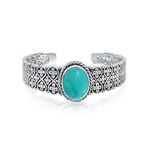 Südwestlichen Stil Oval Cabochon Stabilisiert Türkis Armreif Armband Für Damen Flora Lattice Kettenglied Sterling Silber