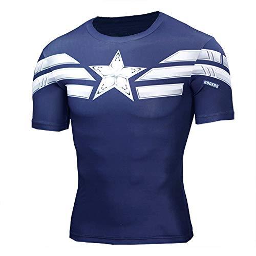 HOOLAZA Maglietta Compressione Super Heroes Uomo Avengers T-Shirt Iron Man Top Fitness