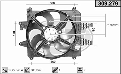 Price comparison product image elettroventola Radiator FIAT MULTIPLA 1.9 MJT 2007 Onwards