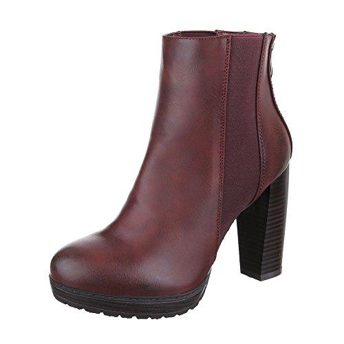 High Heel Stiefeletten Damen Schuhe Schlupfstiefel Pump Used Optik Reißverschluss Ital-Design Stiefeletten Weinrot