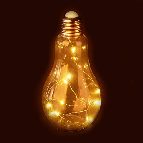 Relaxdays Deko Glühbirne LED, Tischleuchte, batteriebetriebene LED-Deko, Glas-Glühlampe mit Lichterkette, transparent