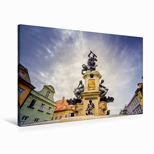 Calvendo Premium Textil-Leinwand 90 cm x 60 cm Quer Herkulesbrunnen | Wandbild, Bild auf Keilrahmen, Fertigbild auf Echter Leinwand, Leinwanddruck Orte Orte