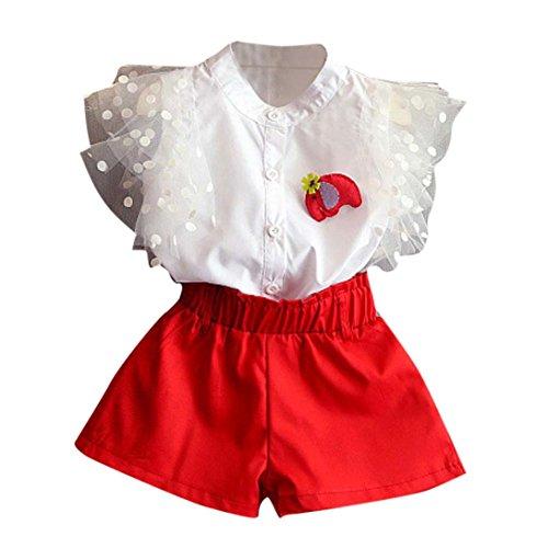 Kinder Mädchenkleidung, Bekleidung Longra Baby Kinder Mädchen Kurzarm Outfit Shirt Bluse + Shorts Kleidung Set(2-7Jahre) (130CM 6-7Jahre, (Kostüm City Party Blume Baby)