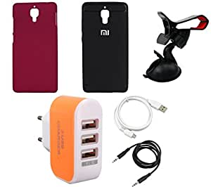NIROSHA Cover Case USB Cable Mobile Holder Charger for Xiaomi Mi4 - Combo
