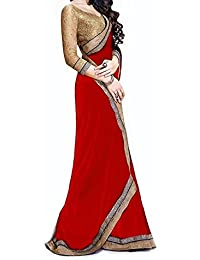 Tiana Creation Georgette Saree (Jaiho_Red_Red)