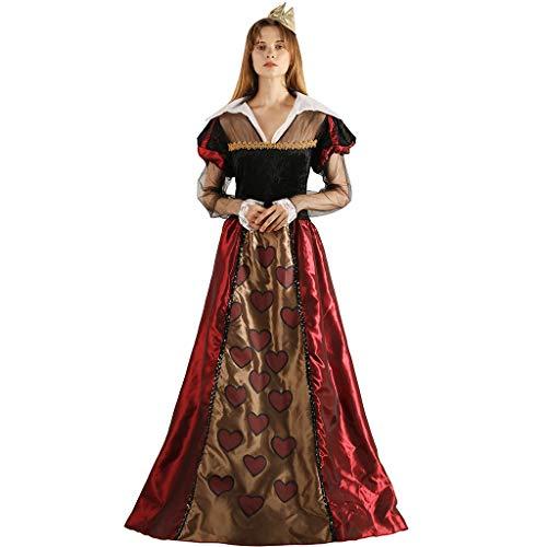 EraSpooky Damen Königin der Herzen Kostüm Rote Königin Faschingskostüme Cosplay Halloween Party Karneval Fastnacht Kleidung für Erwachsene (Machen Königin Der Herzen Kostüm)