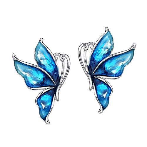 NEOGLORY Pendientes de Mariposa Esmalte Azul Hipoalergénico Joya Original Regalo Chica Mujer