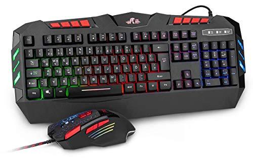 Rii RK900+ Gaming Tastatur und Maus Set – RGB LED Hintergrundbeleuchtung in deutschem QWERTZ Layout – leiser Tastenanschlag