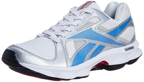 Reebok Men's Runtone Doheny Lp Silver, Blue, White, Black and Red Mesh Running Shoes - 6 UK