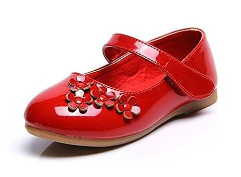 PPXID Fille Princesse Chaussure Flat Mary Janes(Petit Enfant Bébé )-rouge 26