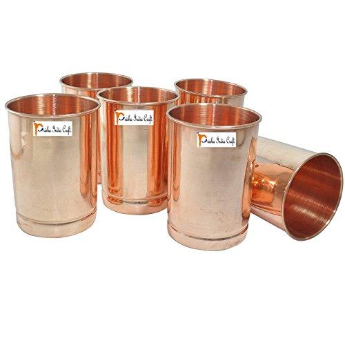 Prisha India Craft Glasbecher aus reinem Kupfer für Wasser, handgefertigte Wassergläser - Traveller Kupfer-Tasse für Ayurveda - Weihnachtsgeschenk