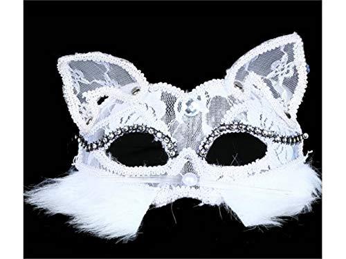 Blue Bridge Kreative Fox Spitze Hohlen Maske Maskerade Maske für venezianische Abschlussball-Party (weiß) Festliche Dekoration
