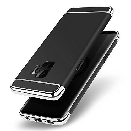 AICase Galaxy S9 Hülle, Ultradünne und Slim Hard Case 3 in 1 Combo beschichtete Rutschfeste Matte Oberfläche mit galvanischen Rahmen Schutzhülle für Samsung Galaxy S9(S9, Schwarz) Combo Hard Case