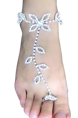 Vococal-1-par-Mano-Tobillo-Pulsera-Cadena-Sandalias-Pies-Descalzos-Joyera-de-Pies-de-Zapatos-de-Verano-Playa-de-Hoja-de-Diamante-de-Imitacin-para-Novia-Dama-de-Honor-de-Boda-y-Fiesta