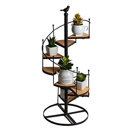 Tong Heng Sheng Firm Kreative europäischen Stil Iron Flower Rack Multi-Layer-Rotation Floor Retro Vintage hölzernen Wohnzimmer Balkon Multi-Fleisch Blume Racks -