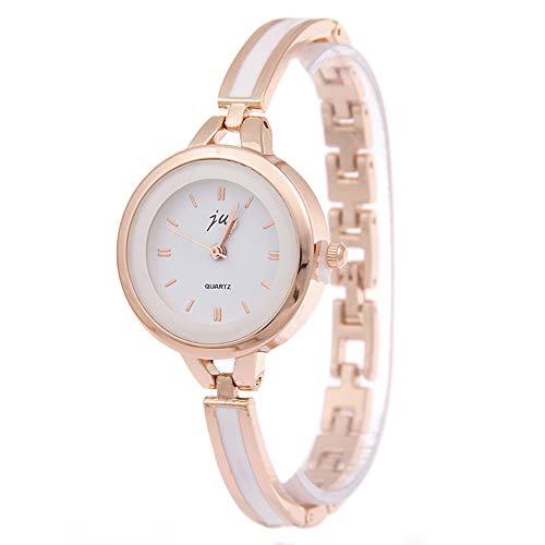 Damenuhren Schmal Armband-Uhr, Nail-Skala Roségold Armreif Mode Elegant Armbanduhren für Damen