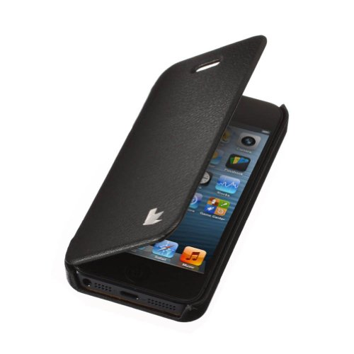 Jisoncase KLASSISCH Handytasche Book Type Apple iPhone 5/ iPhone 5S/ iPhone SE Hülle Case mit versteckter Magnetverschluss Tasche Leder Handyhülle in weiß JS-IP5-03H00 schwarz