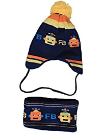 Gubbarey Unisex Robot Printed Wool Knitted Cap and Neck Warmer Set (Navy Blue, 2-8 Years)
