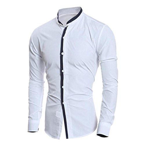 Herren New Style Shirt Bluse, Amlaiworld Langarm Slim Fit Shirt Bluse Weiß