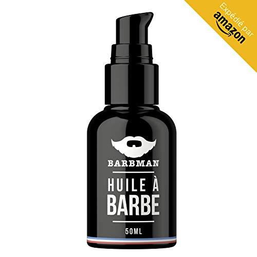 BARBMAN: HUILE à BARBE Naturelle enrichit en huile de Jojoba et Pépins de Raisins pour hydrater et nourrir votre peau. Discipline votre barbe en lui apportant éclat et douceur. Cadeau idéal pour Barbu