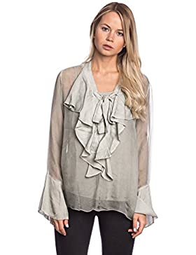 [Sponsorizzato]Abbino 8622 Bluses Tops Donne - Made in Italy - 6 Colori - Eleganti Mezza Stagione Primavera Estate Autunno Tinta...
