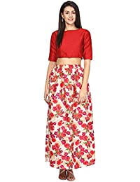ATHENA Red Printed Crop Top With Skirt