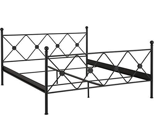 Loft 24 A/S Bett 180x200 cm Metallbett Doppelbett Bettrahmen Jugendbett Metall Eisen (schwarz lackiert, 180 x 200 cm) -